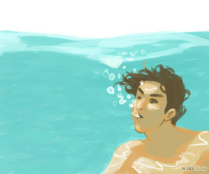 Breathing out under water